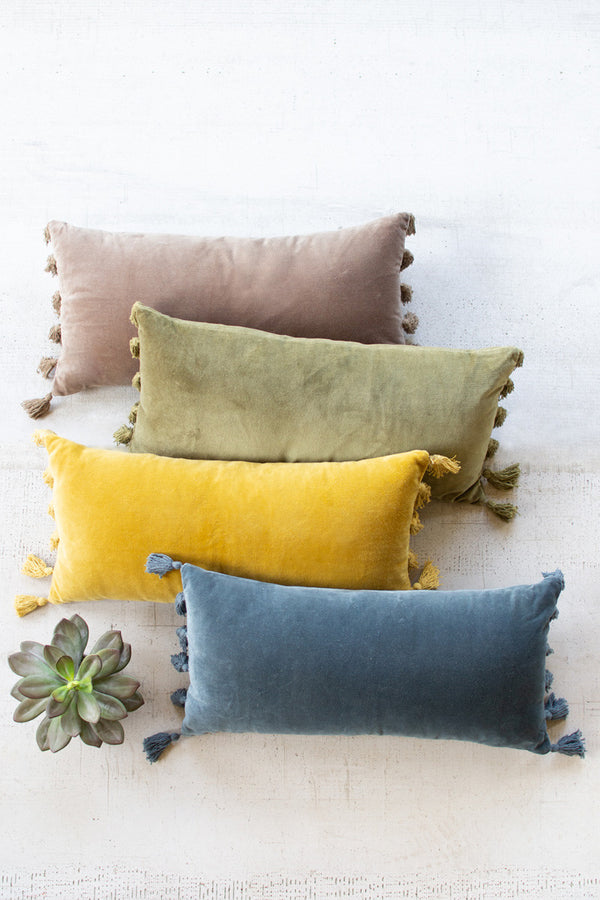 Velvet Lumbar Pillow  -  Avocado
