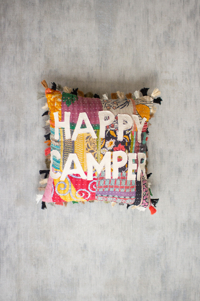 Happy Camper Kantha Pillow