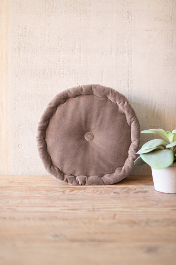Round Velvet Cushion  -  Cobblestone