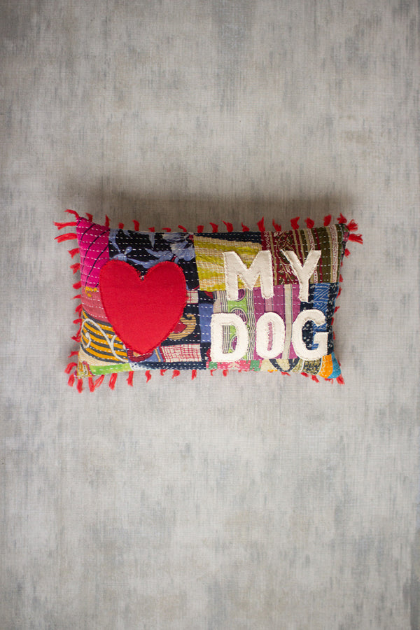 Love My Dog Kantha Pillow