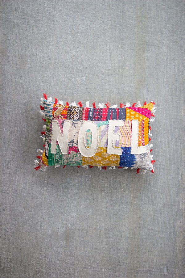 Christmas Noel - Kantha Pillow