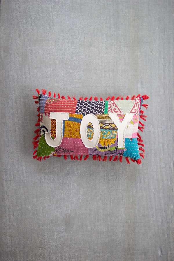 Christmas Joy - Kantha Pillow