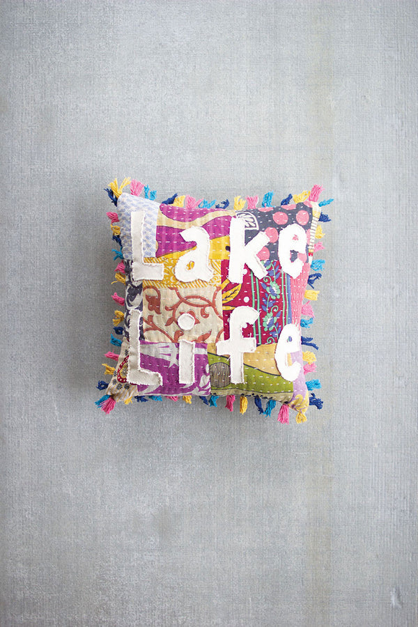 Lake Life - Kantha Pillow