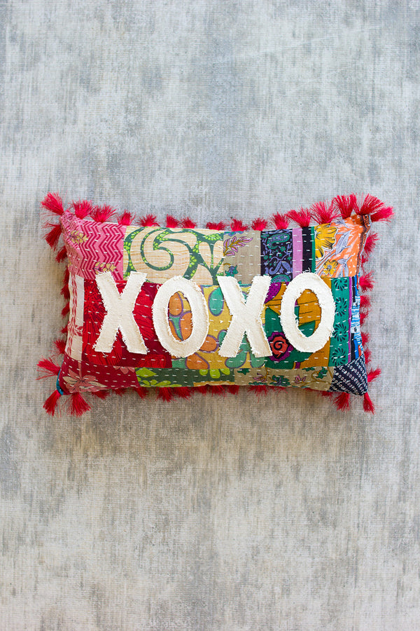 XOXO - Kantha Pillow