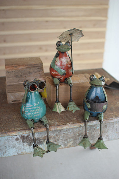 Set of 3 Recycled Iron Frogs