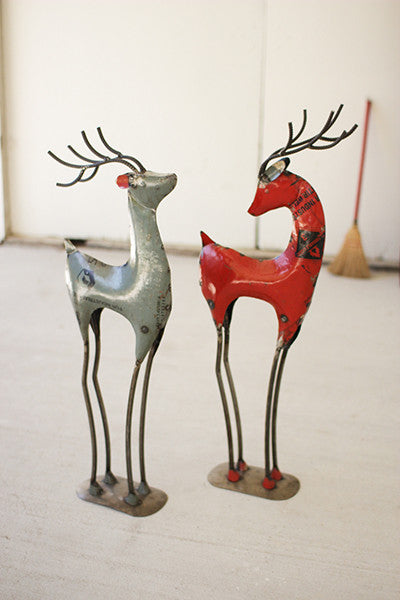 Set of 2 Recycled Red Iron Deer