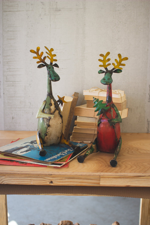 Set of 2 Recycled Sitting Iron Moose