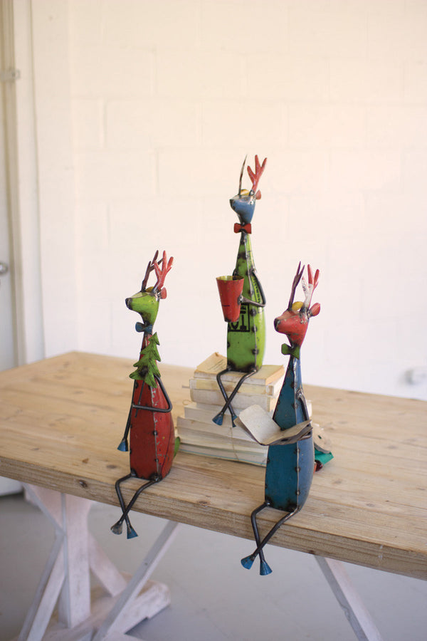 Set of 3 Recycled Metal Deer Shelf Sitters