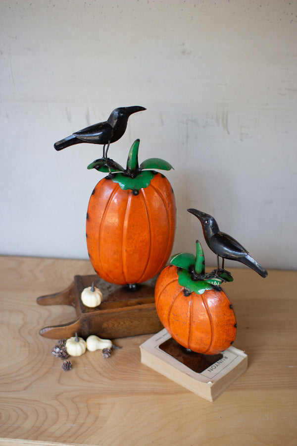 Set Of 2 Recycled Metal Pumpkins With Crows