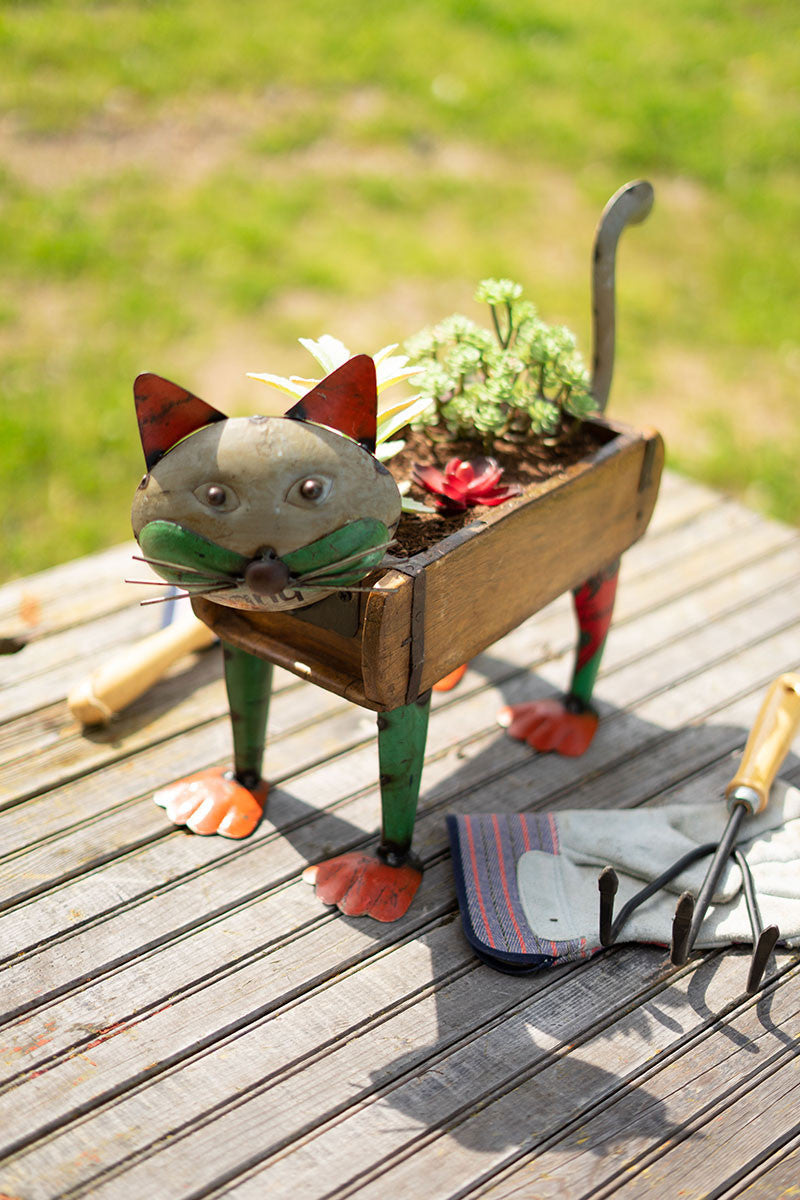 Recycled Iron Cat With Brick Mould Flower Box