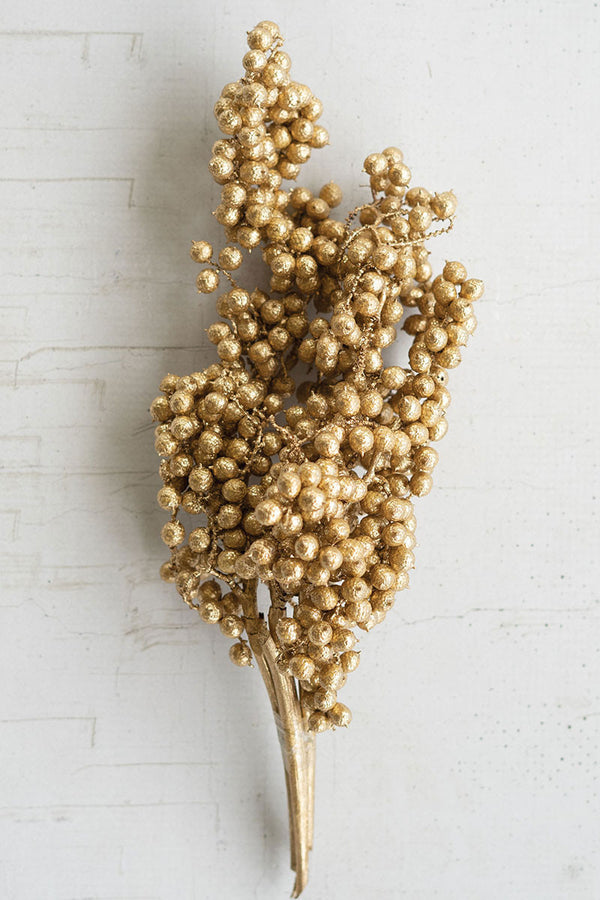 Bundle Of Washed Gold Canella Berry Stems - Set Of 24