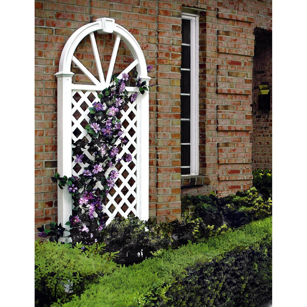7-Ft Garden Trellis in White Vinyl with Arch Top
