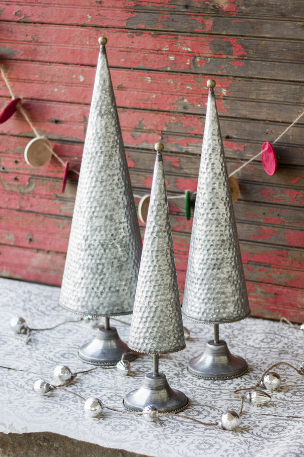 Set Of 3 Zinc Topiaries With Beaded Brass Detail