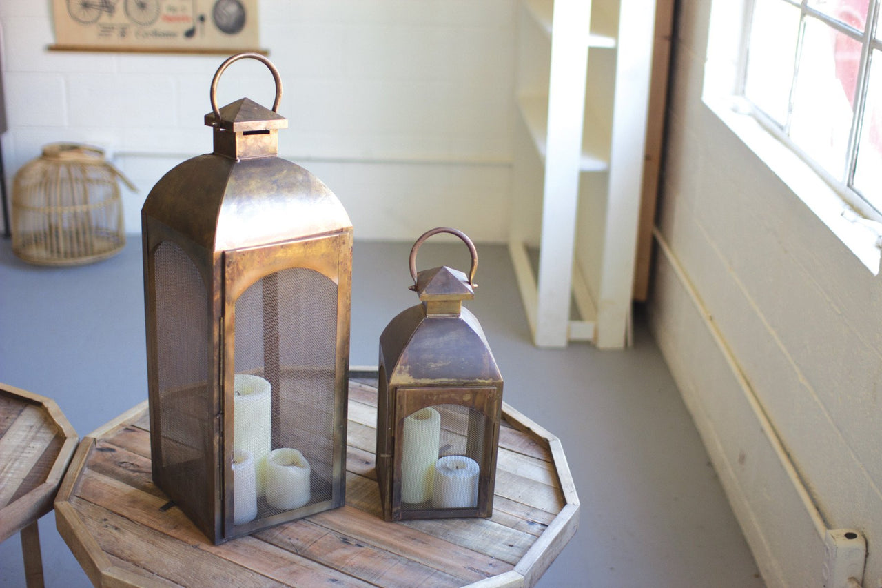 Set Of 2 Bronze Lanterns