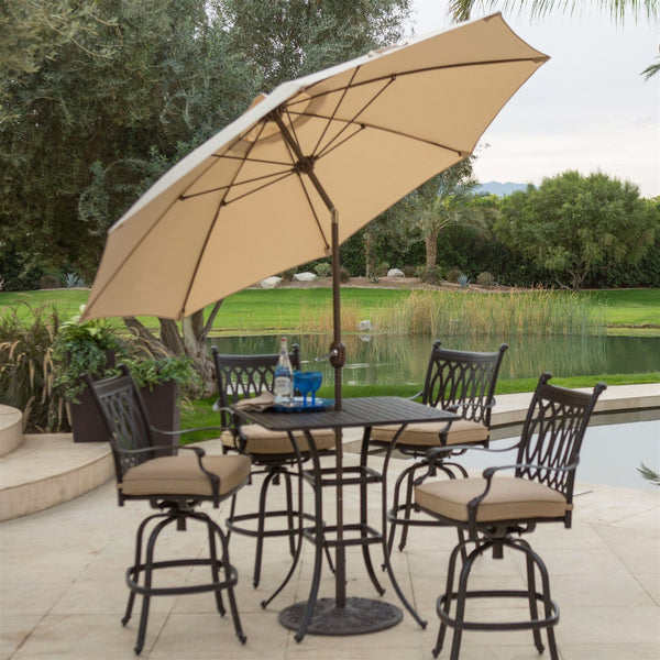 Beige Canopy 9-Ft Patio Umbrella with Push Button & Bronze Pole