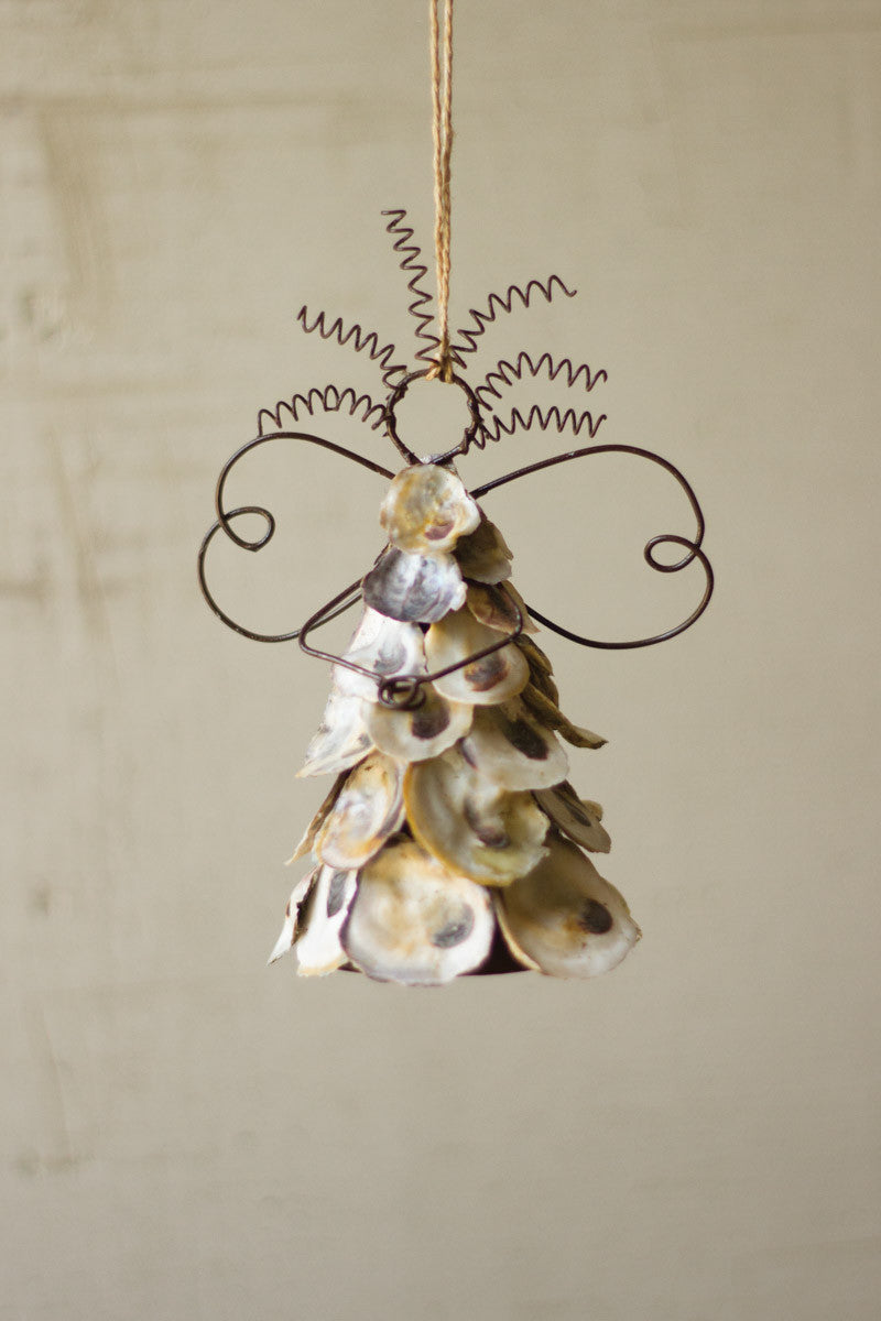 Set Of 6 Oyster Shell Angel Ornaments