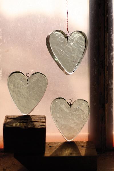 Set of 4 Glass Heart Ornaments