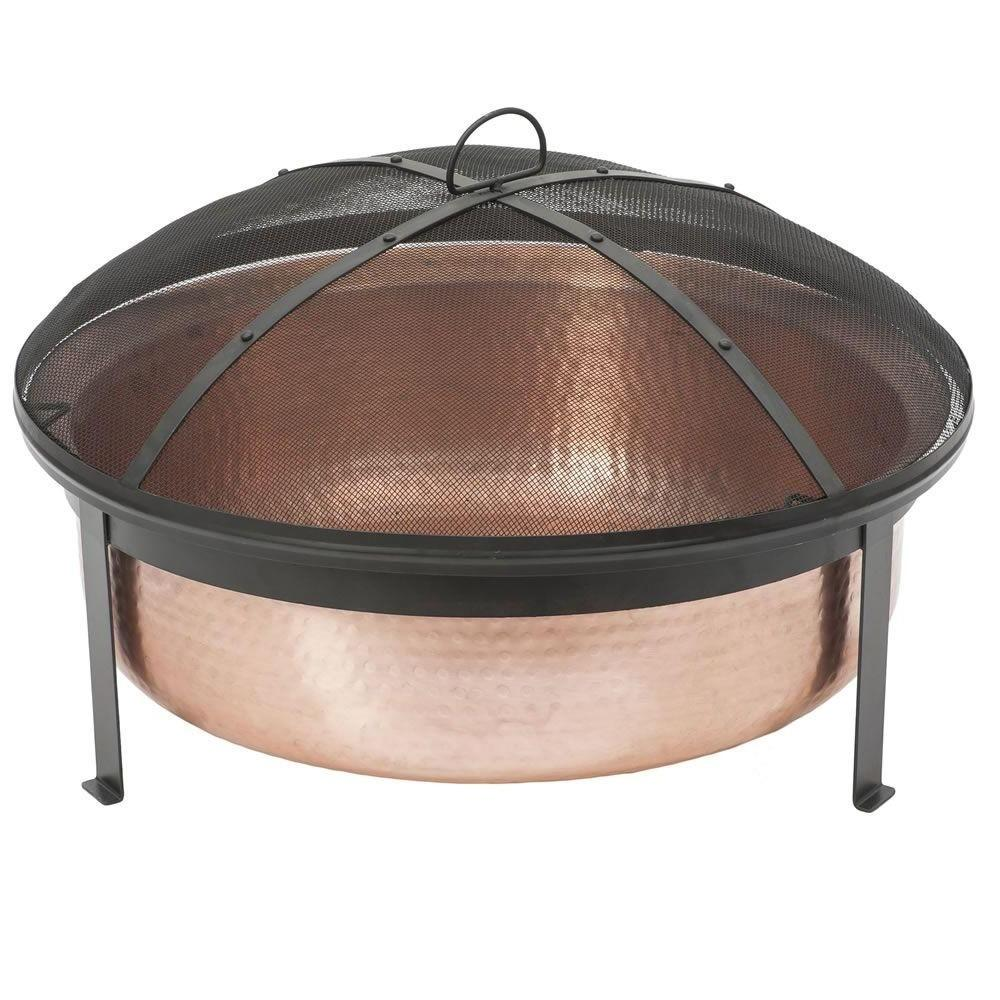 Farmhouse 100% Copper Fire Pit Tub Hand Hammered with Screen Cover
