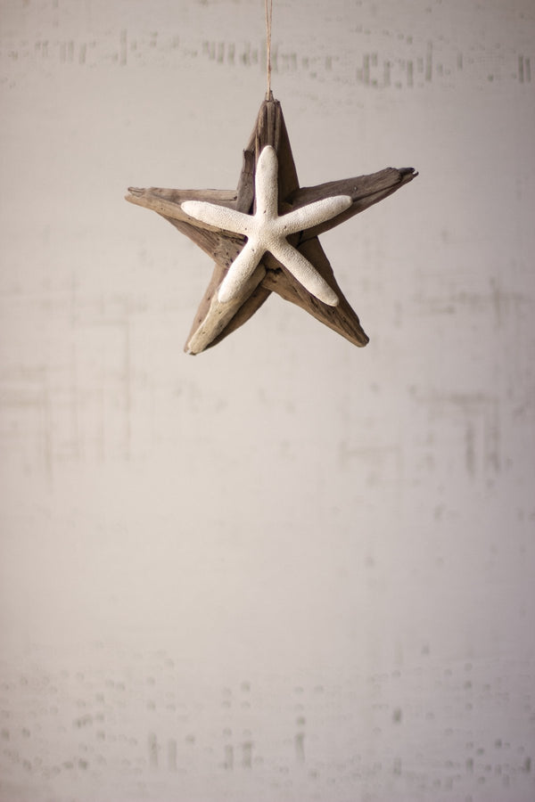 Set Of 4 Driftwood Star Ornaments With Starfish Detail