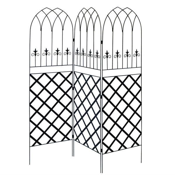 6-Ft High 3-Panel Black Metal Lattice Screen Garden Trellis