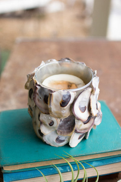 Oyster Shell Round Candle Holder