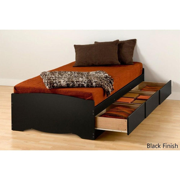Twin XL Platform Bed Frame With 3 Storage Drawers In Black