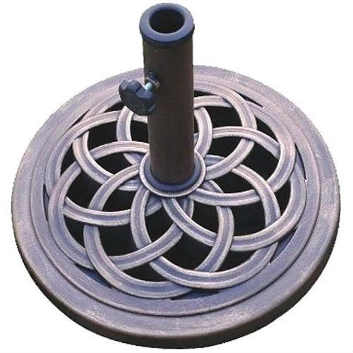18-inch Cast Stone Patio Umbrella Base in Outdoor Bronze Finish