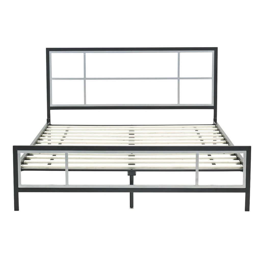 Queen Size Modern Platform Metal Bed Frame With Headboard Footboard & Wooden Slats