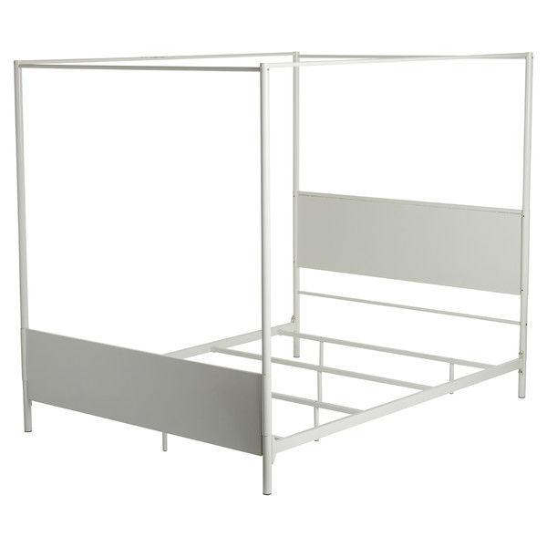 Queen Size Contemporary White Metal Canopy Bed