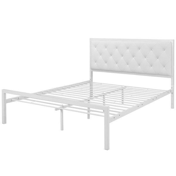 Queen Size Modern White Metal Platform Bed With Upholstered Headboard