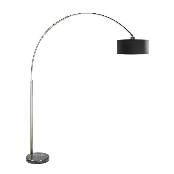 Modern 81 Inch Tall Arch Floor Lamp With Black Drum Shade & Marble Base
