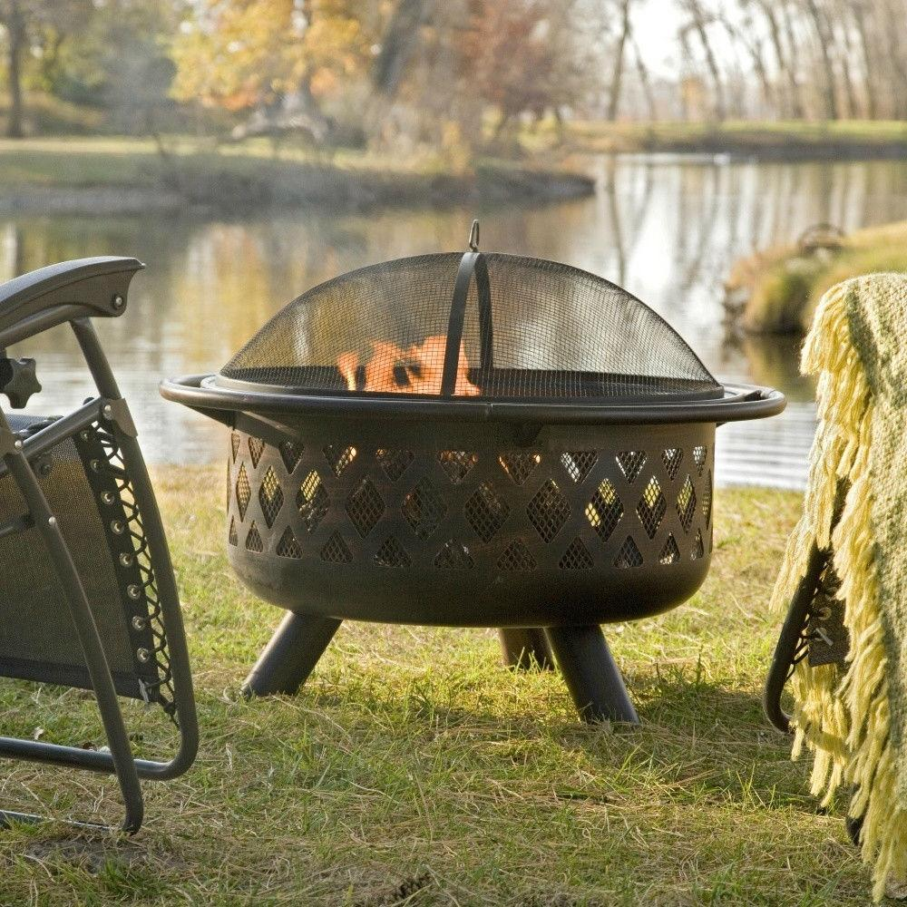36-inch Bronze Fire Pit with Grill Grate Spark Screen Cover & Poker