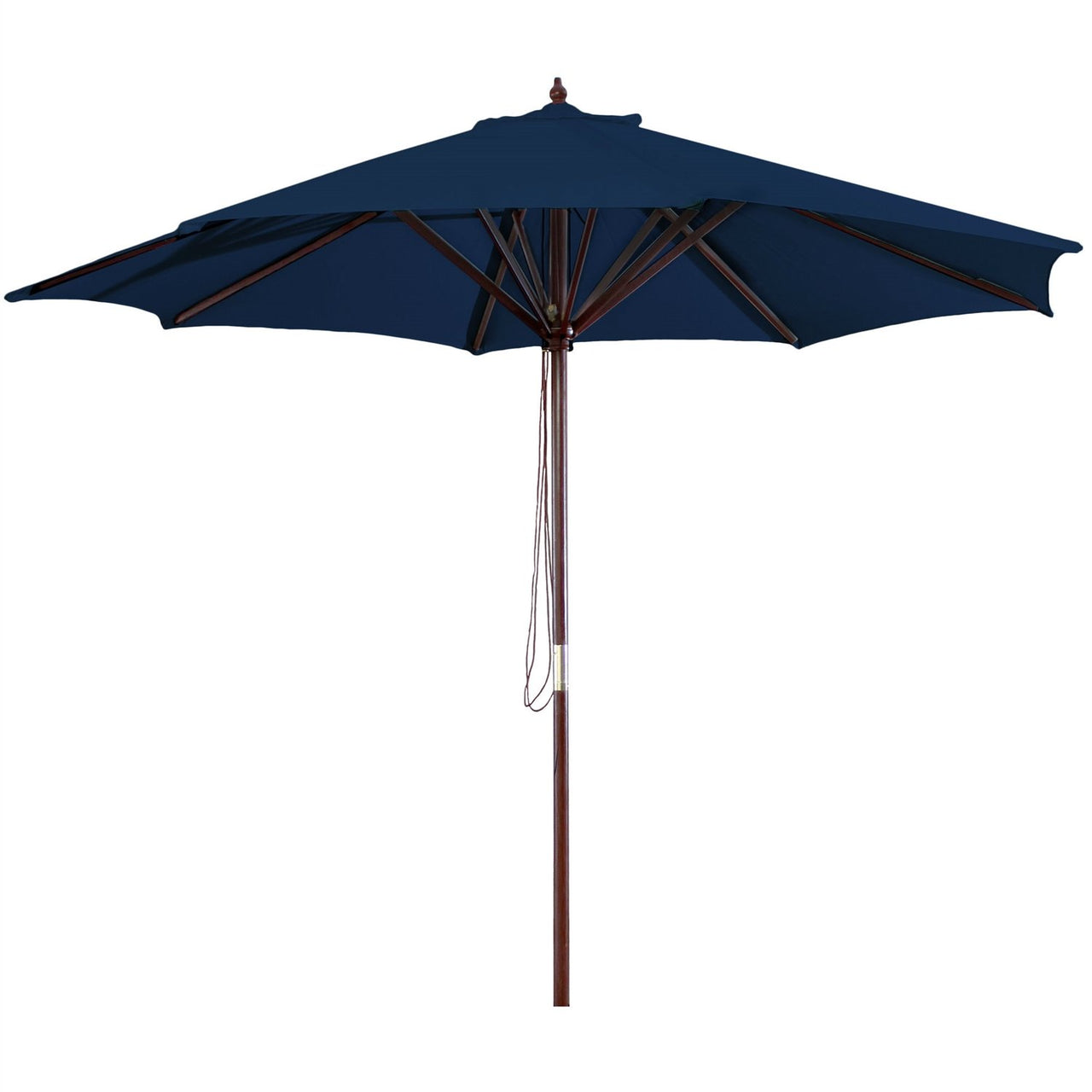9-Foot Wood Frame Patio Umbrella with Pulley & Royal Blue Canopy