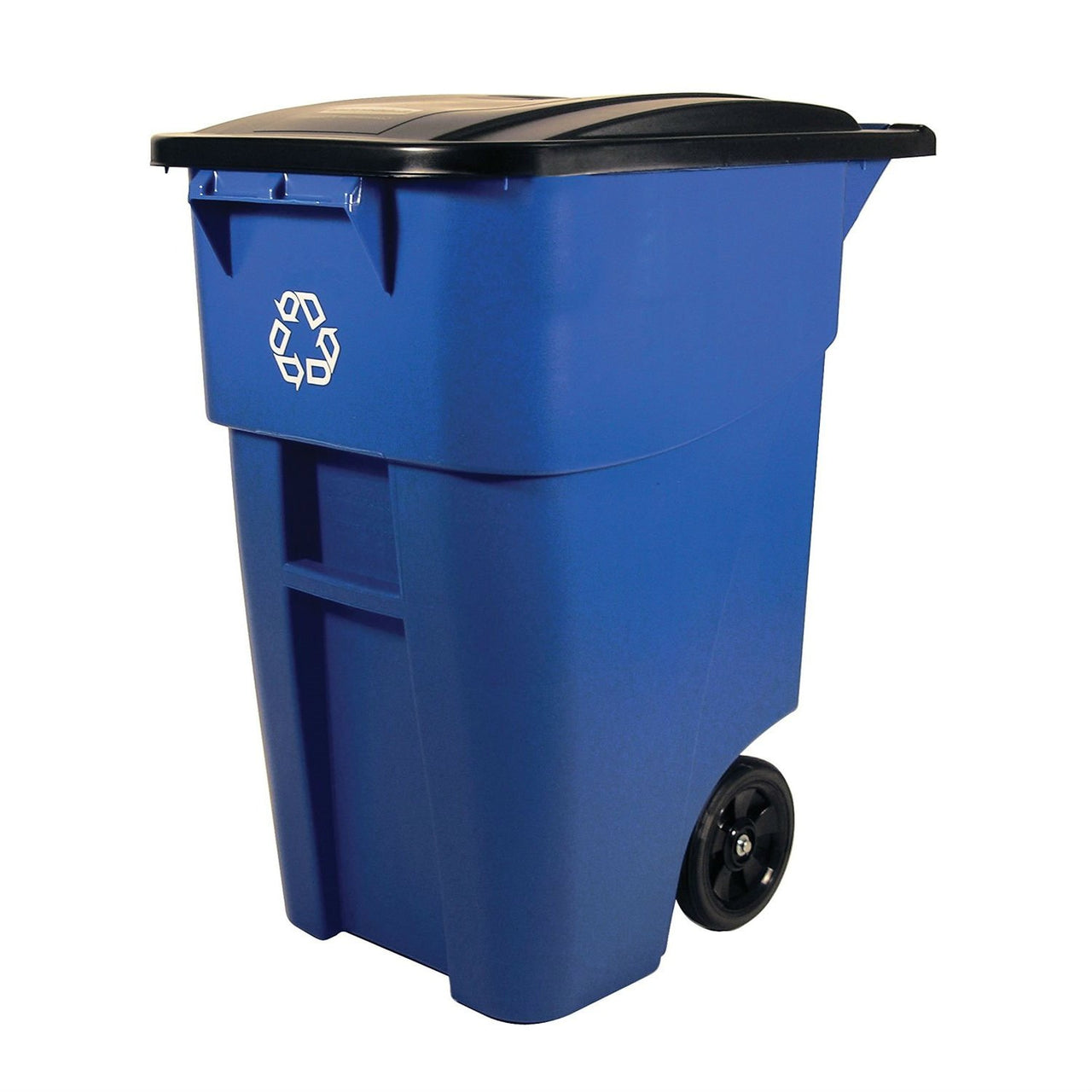 50 Gallon Blue Commercial Heavy-Duty Rollout Recycler Trash Can