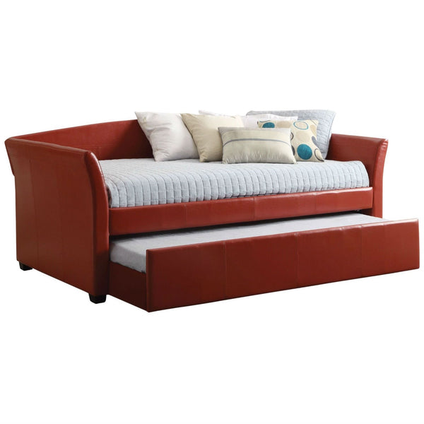 Twin Size Red Faux Leather Upholstered Daybed With Trundle