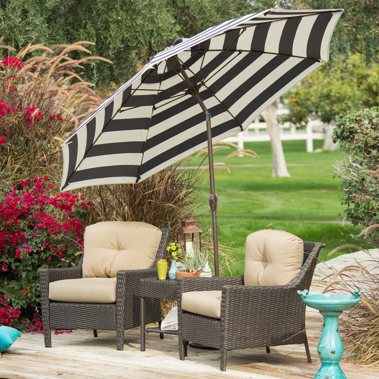 7.5-Ft Patio Umbrella with Dark Navy & White Stripe Outdoor Fabric Canopy & Metal Pole