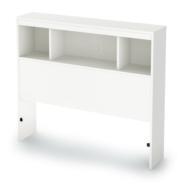 Twin Size Modern Bookcase Headboard In White Wood Finish