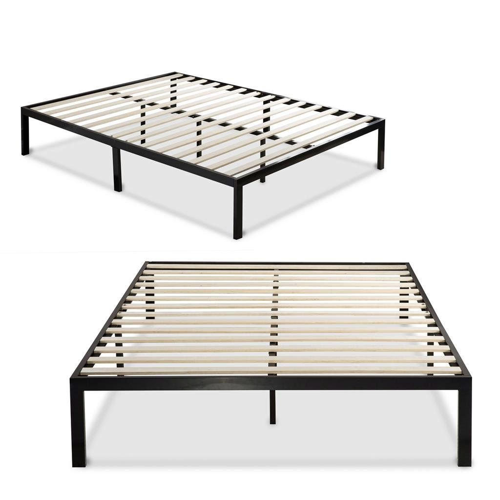 Twin Size Black Metal Platform Bed Frame With Wood Slats