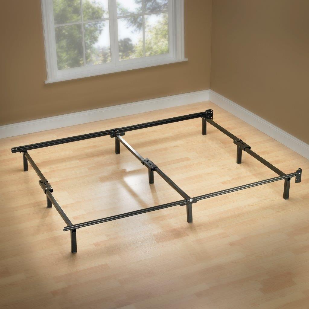 Twin Metal Bed Frame With 6 Support Legs & Headboard Brackets