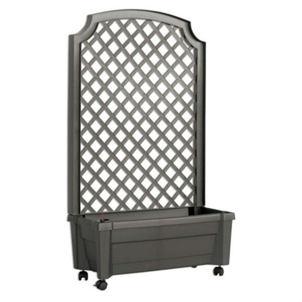 Indoor/Outdoor Grey Polypropylene Self Watering Planter with Trellis on Wheels