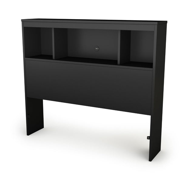 Twin-Size Bookcase Headboard In Black Finish - Modern Design