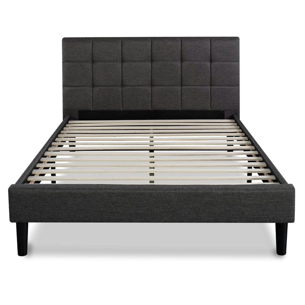 Full Size Modern Platform Bed With Dark Grey Square Stitched Upholstered Headboard