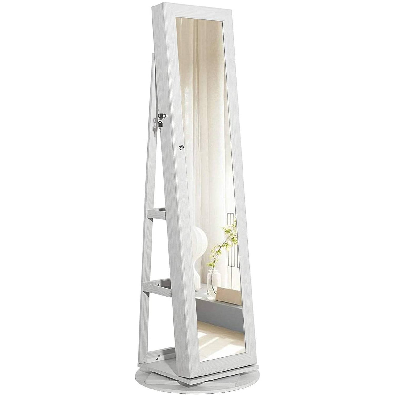360 Degree Swivel White Wash Full Length Mirror Locking Jewelry Armoire
