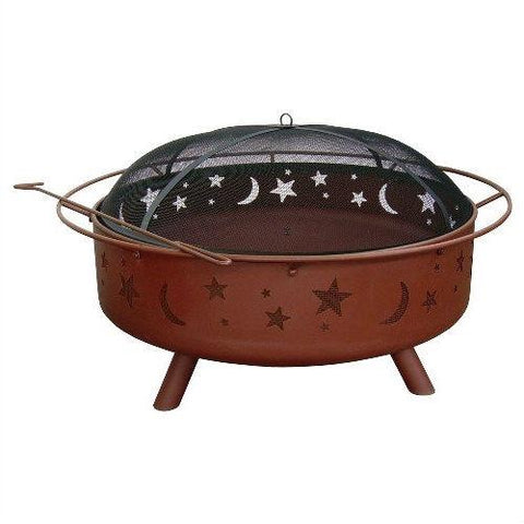 Large 36 Inch Moon Stars Outdoor Steel Fire Pit With Spark Guard & Poker