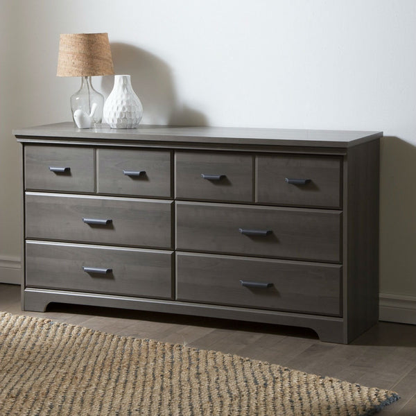 Bedroom 6-Drawer Double Dresser Wardrobe Cabinet in Grey Maple Finish