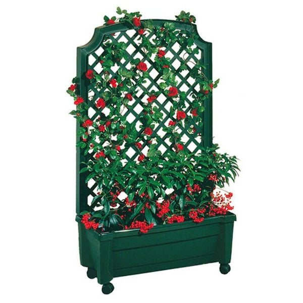 Indoor/Outdoor Green Polypropylene Wheeled Trellis Planter