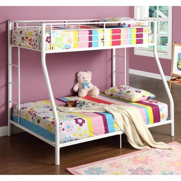 White Twin over Full Metal Bunk Bed