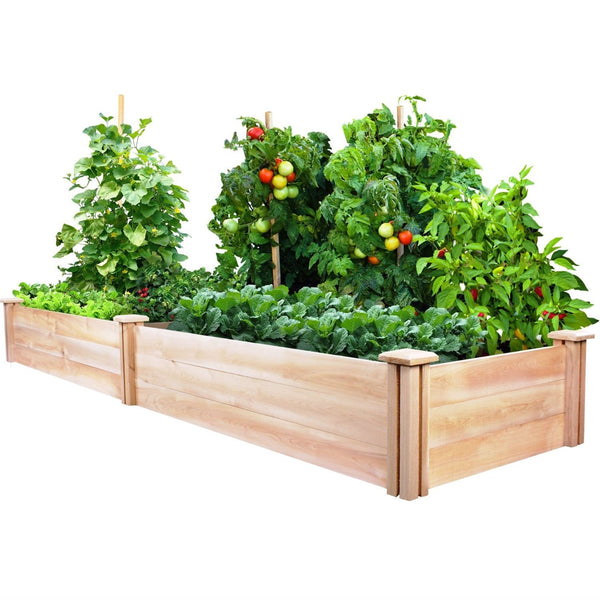 Cedar Wood 2-Ft x 8-Ft Outdoor Raised Garden Bed Planter Frame