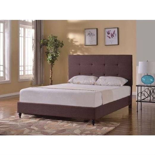 Twin Size Brown Linen Upholstered Platform Bed With Tufted Headboard