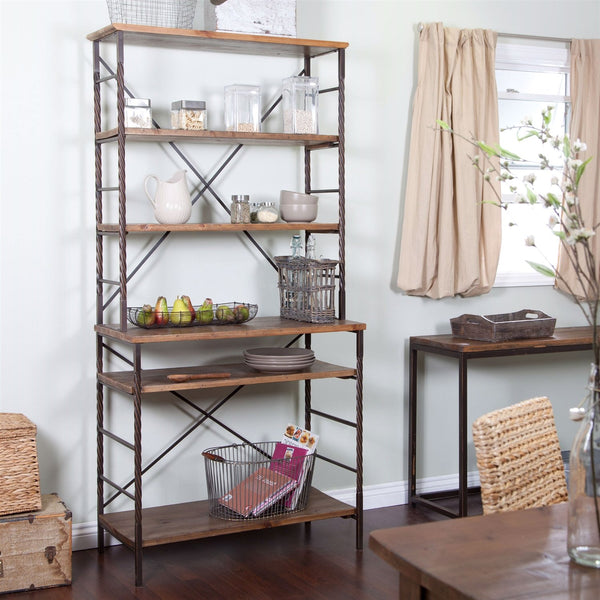 Durable Fir Wood & Metal Bakers Rack With Storage & Display Space